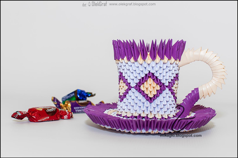 525. Filiżanka z origami w fioletach / 3d origami violet ... - photo#25