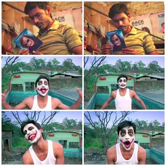 Dhanush's expressions in joker's make-up for Shamitabh