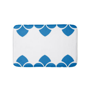 Blue and white bath mat
