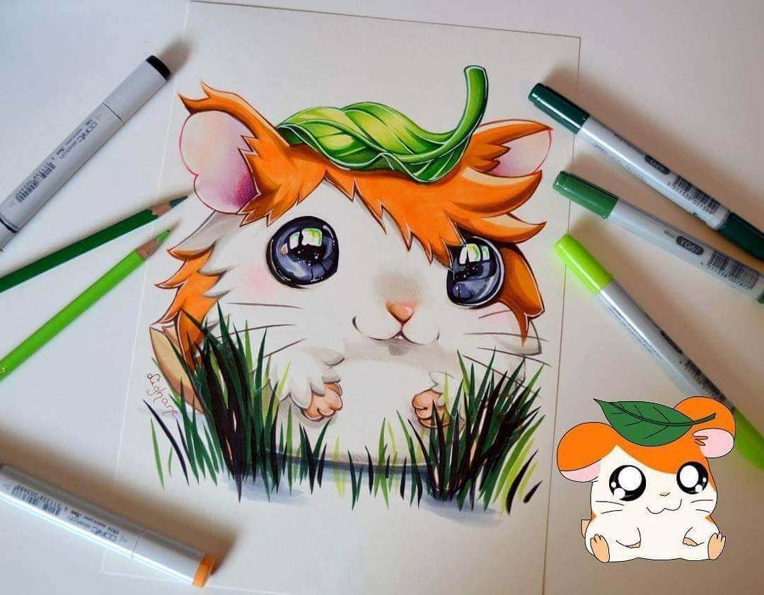 07-Hamtaro-Lisa-Saukel-lighane-Cute-Colored-Fantasy-Animal-Drawings-www-designstack-co
