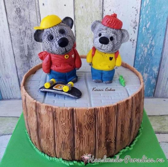 3D торт лесной тематики из сахарной мастики (5)