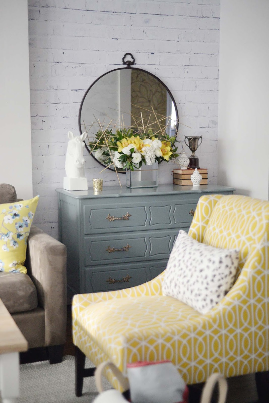 Wayfair Winter Refresh | round metal mirror | floral art | yellow teal white | RamblingRenovators.ca