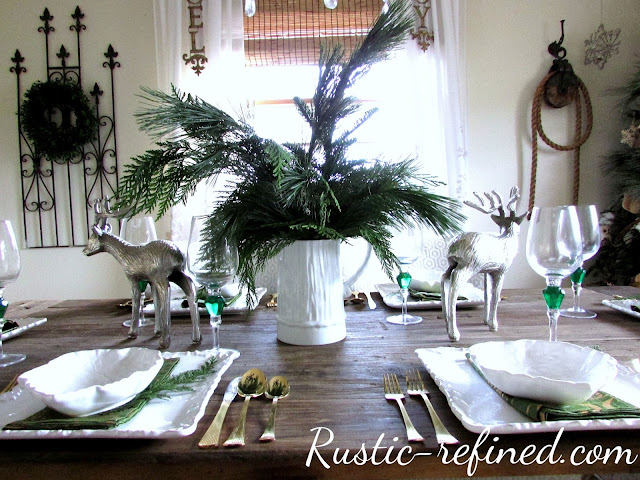 Christmas Tablescape Using Fresh Greenery