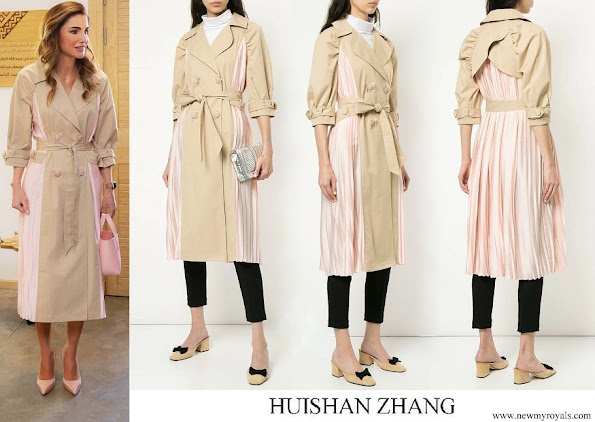 Queen Rania wore HUISHAN ZHANG pleated panel trench coat