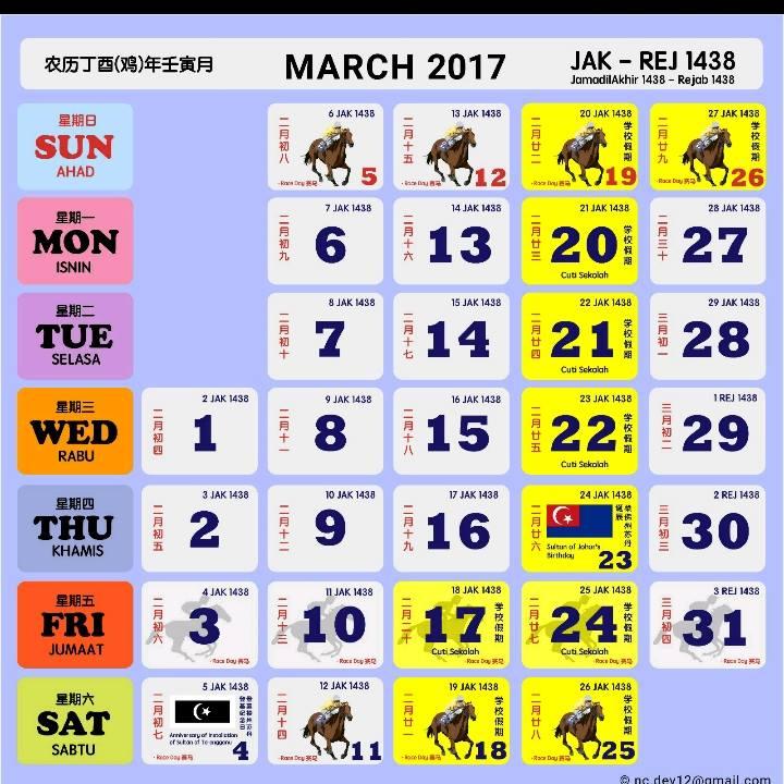 Kalendar Kuda 2017 Malaysia Mac