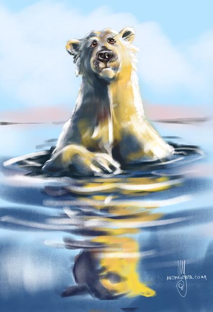 Polarbear Painting by Artmagenta