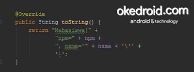 Method override toString() java