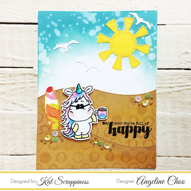 ScrappyScrappy: Summer Coffee Lovers BlogHop with Kat Scrappiness #scrappyscrappy #katscrappiness #summer2017clh #ginamariedesigns #timholtz #distressoxide #gerdasteiner #stamp #stamping #unicorn #beach #unitystampco #sequins #copic #coffeelovingpapercrafters #coffeelovingcardmakers