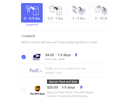 Mercari's Shipping Options