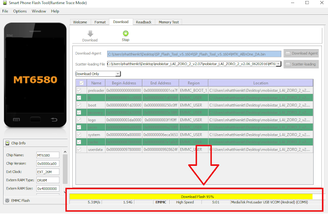Chạy lại chương trình firmware Mobiistar laizoro 2 thành công 100%