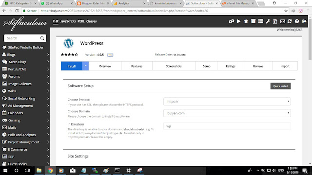 Kelas Informatika - Form Pengaturan Auto Installer Wordpress