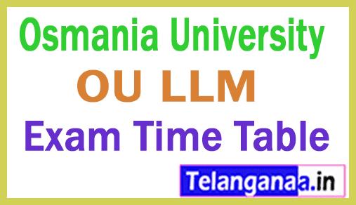 Osmania University LLM Exam Time Table