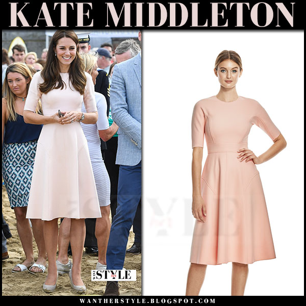 Kate Middleton in pale pink blush dress with shorts sleeves lela rose what she wore