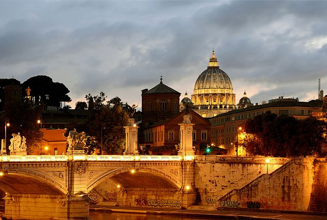Bridge Vittorio Emanuele II at Sunset, Rome, Italy