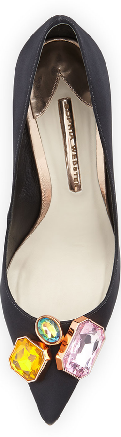 Sophia Webster Lola Gem Satin Pump, Black