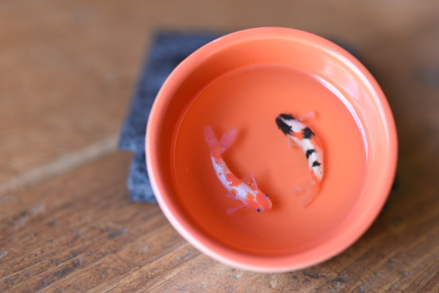 polymer clay Koi in bowls