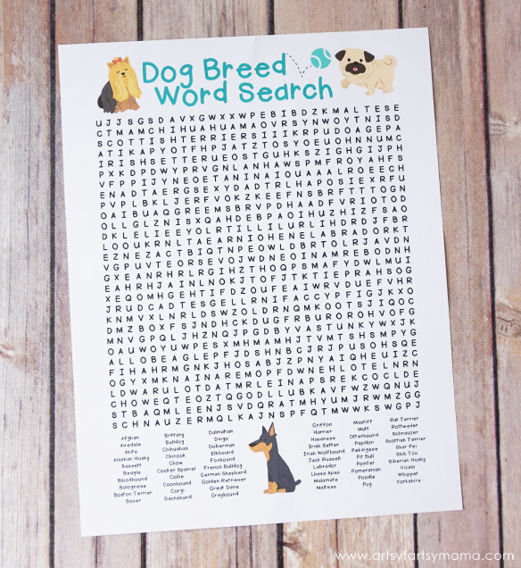 Free Printable Dog Breed Word Search from @artsyfartsymama