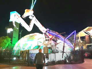Giant praying mantis at Downtown Container Park in Fremont East Las Vegas Nevada