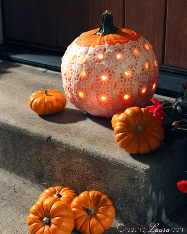 Creating Laura: DIY Doily Pumpkins