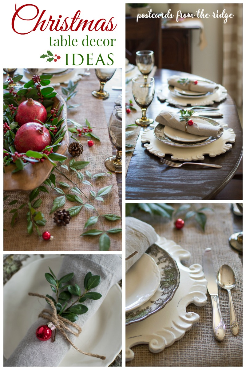 Lots of great ideas for a natural, rustic Christmas tablescape