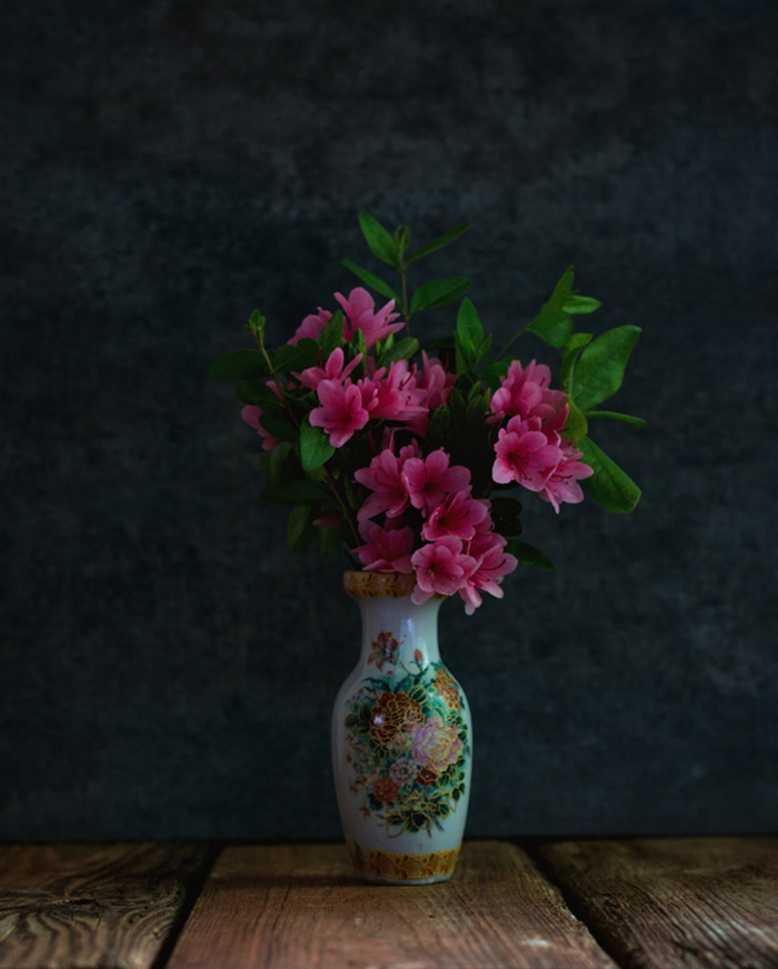 pink azaleas floral arrangement - moody styled photography
