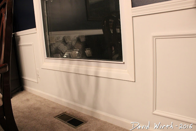 wall trim, chair rail, shadow boxes