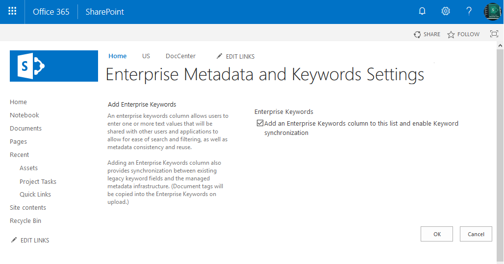 sharepoint online enable enterprise keywords