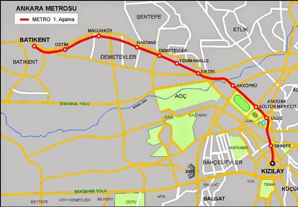 Ankara Metrosu 1 Haritası