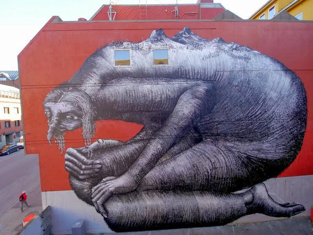 British Street Artist Phlegm Paints A New Urban Mural In Northern Norway. 1