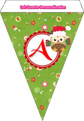 Banderines con Búhitos de Navidad. Christmas Owl Banners.