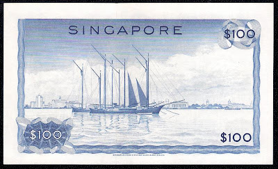 Singapore money currency 100 Dollar note bill
