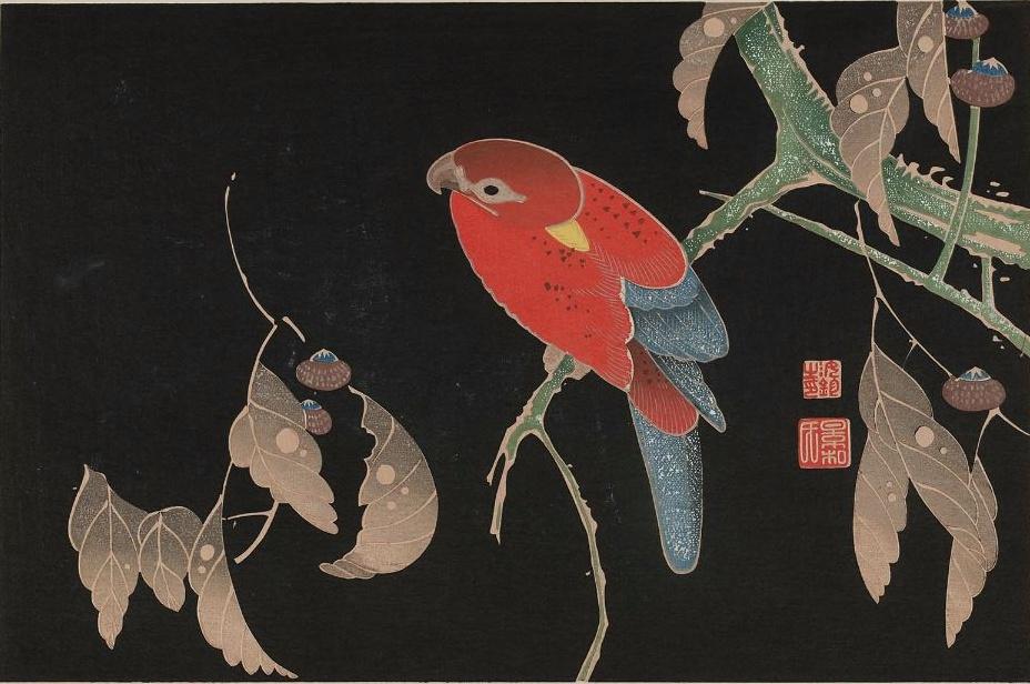 伊藤若冲の櫟に鸚哥図