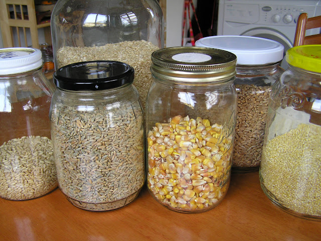 Whole grains stored in jars
