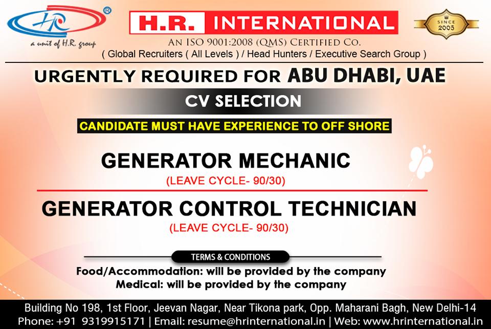 Urgently CV Selection for Abu Dhabi UAE