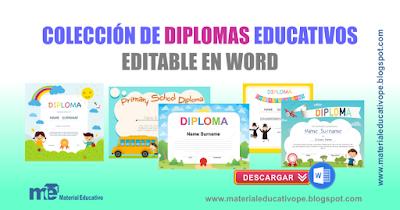 Colección de diplomas educativos editables en word