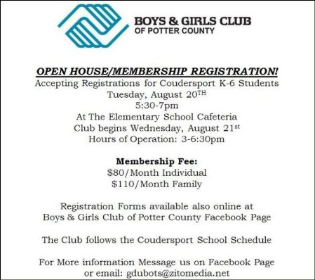 8-20 Potter County Boys & Girls Club Registration