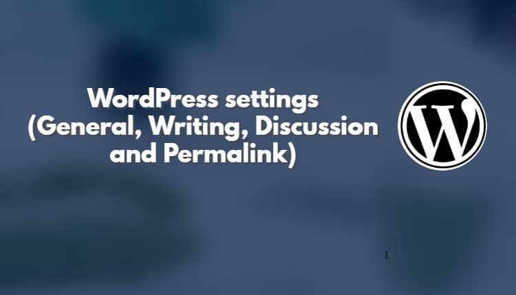 WordPress settings (General, Writing, Discussion,) in Hindi