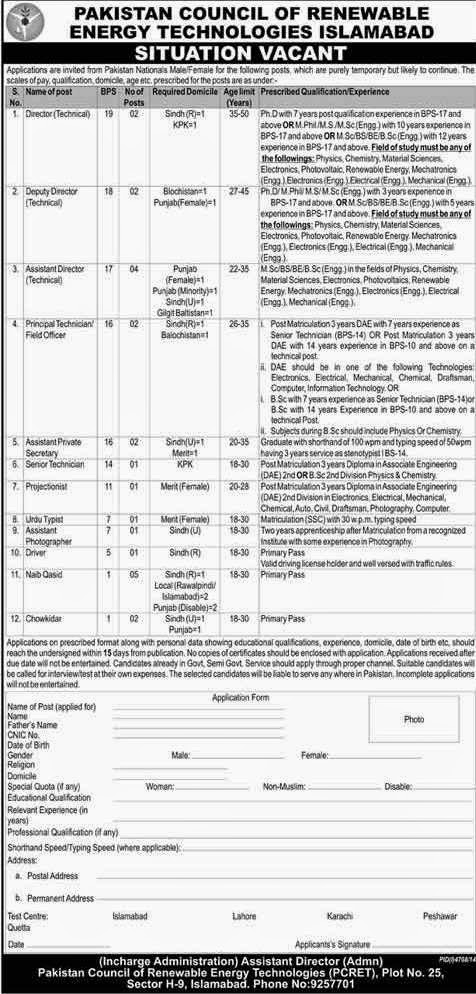 Pakistan council of Renewable energy new Jobs 215 | Mcqs Test