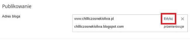 jak przejść na własną domenę, jak zmienić adres bloga z .blogspot na .pl, instrukcja, blogger