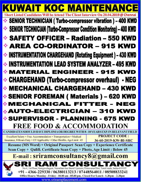 Urgent requirement for leading company in Kuwait long term Maintenance project