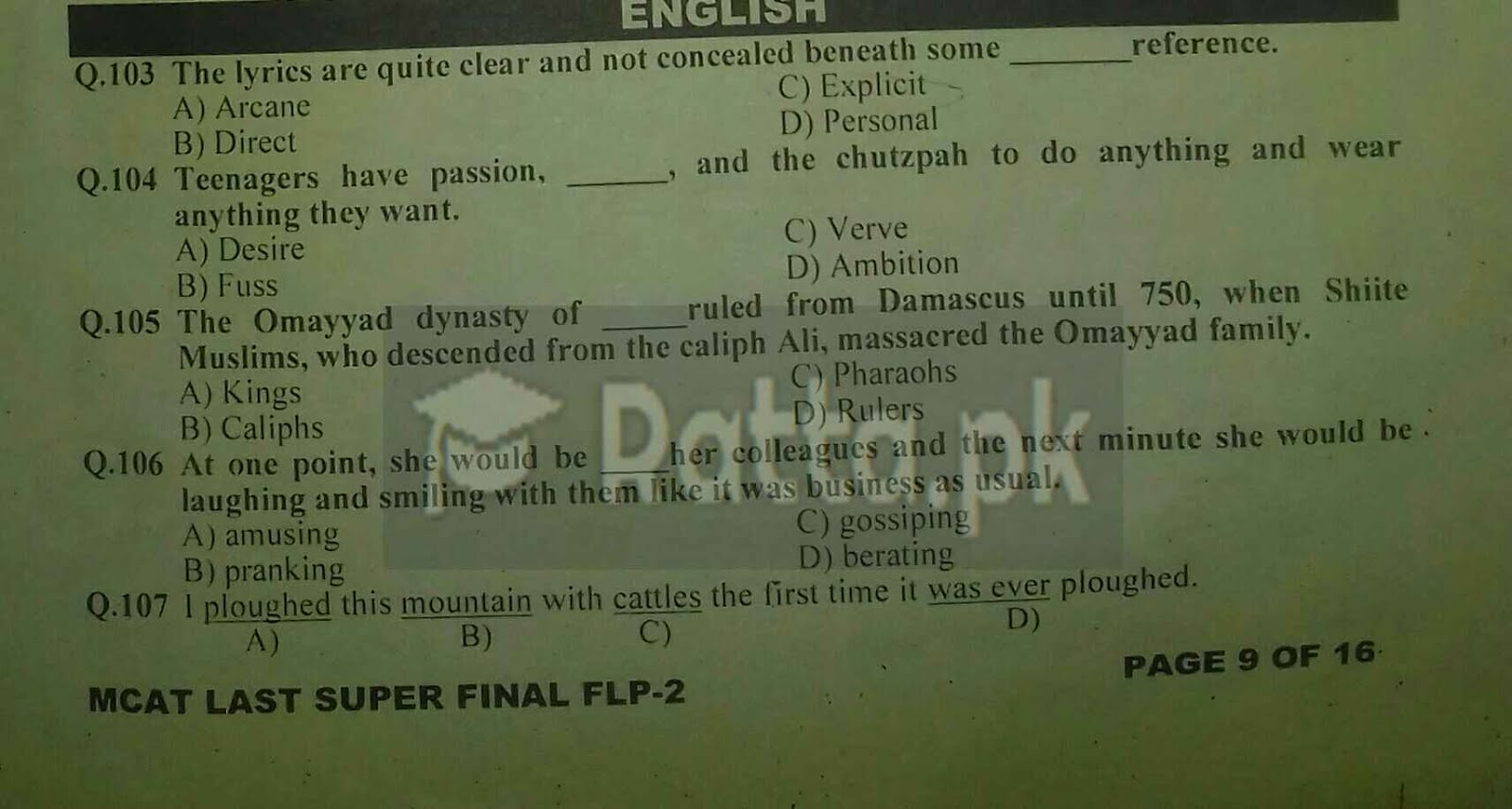 1 KIPS MCAT English Full Length Paper-2