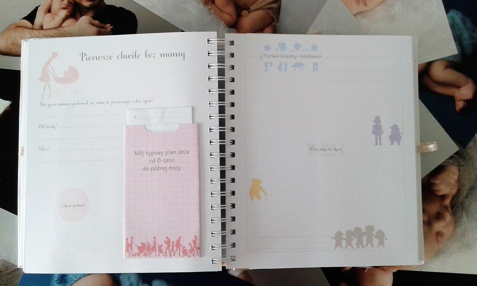 Strona albumu - pierwsze chwile bez mamy. Album dziecka zawierający wszystkie etapy rozwoju dziecka, pamiątka dla dziecka na lata.