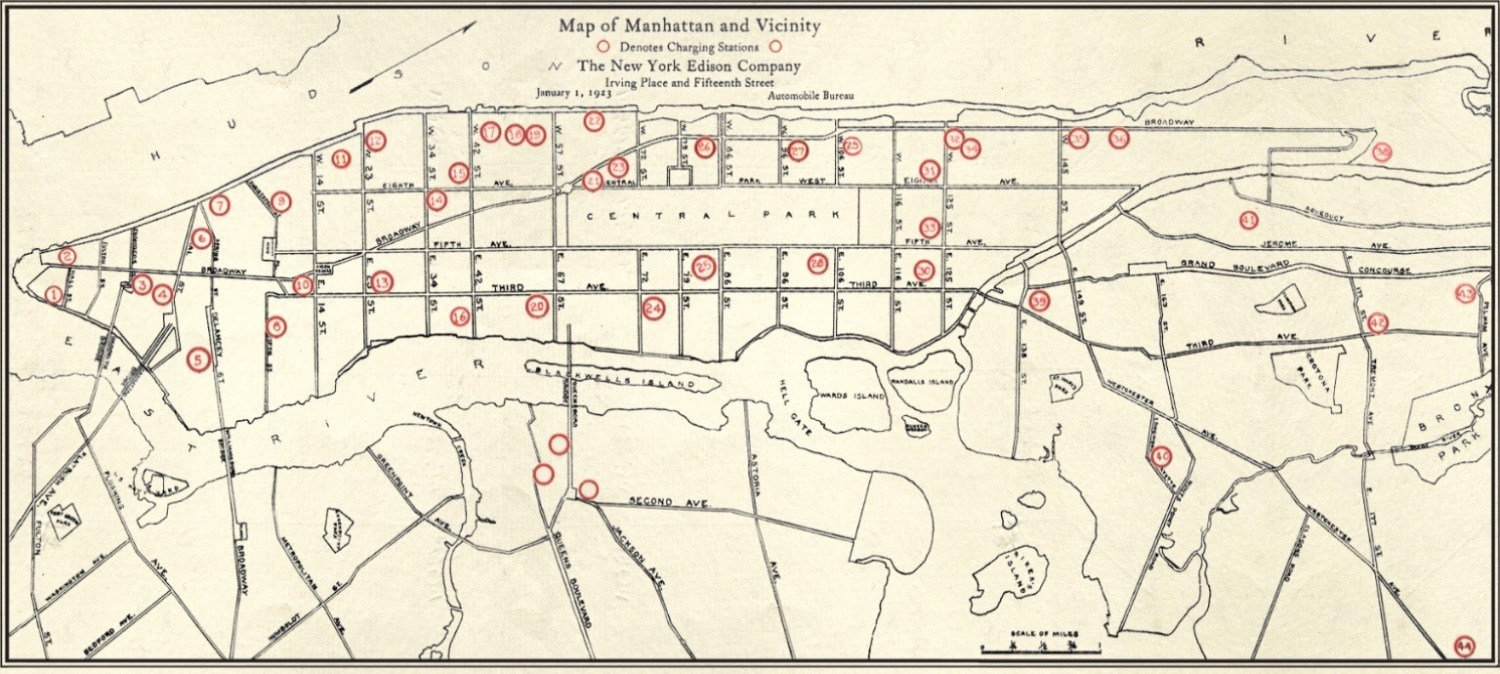 map of charging stations for electric cars nyc 1923