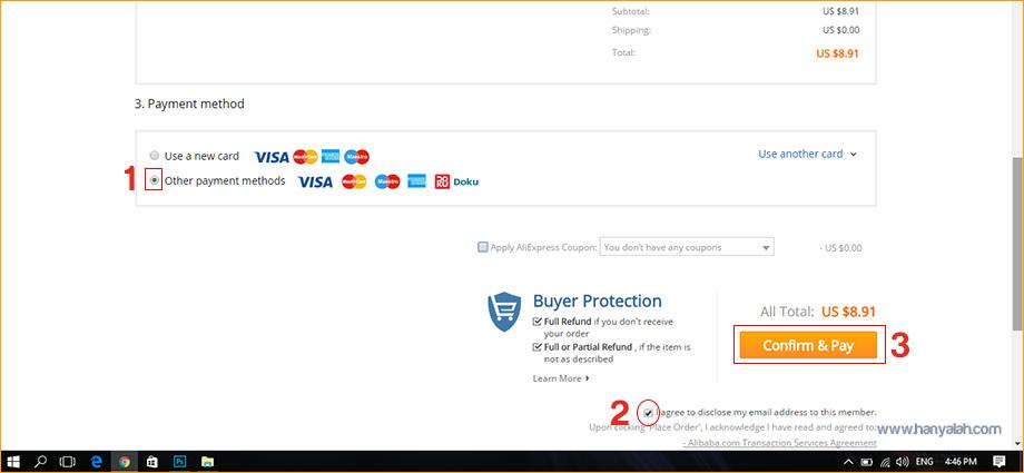 Pilihan alat pembayaran di AliExpress