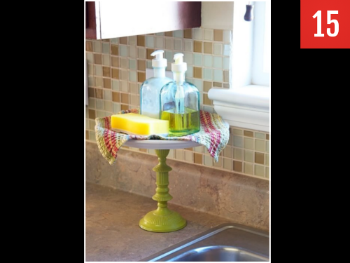 Use a cake stand for your kitchen sink