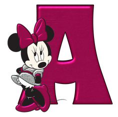 Abecedario Fucsia con Minnie. Fucsia Alphabet with Minnie.