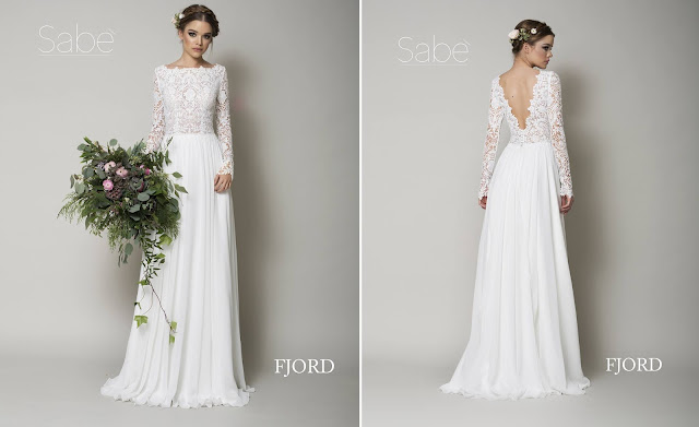 Biała suknia ślubna z długi.m koronkowym rękawem, prostym dołem. Suknie SABE.