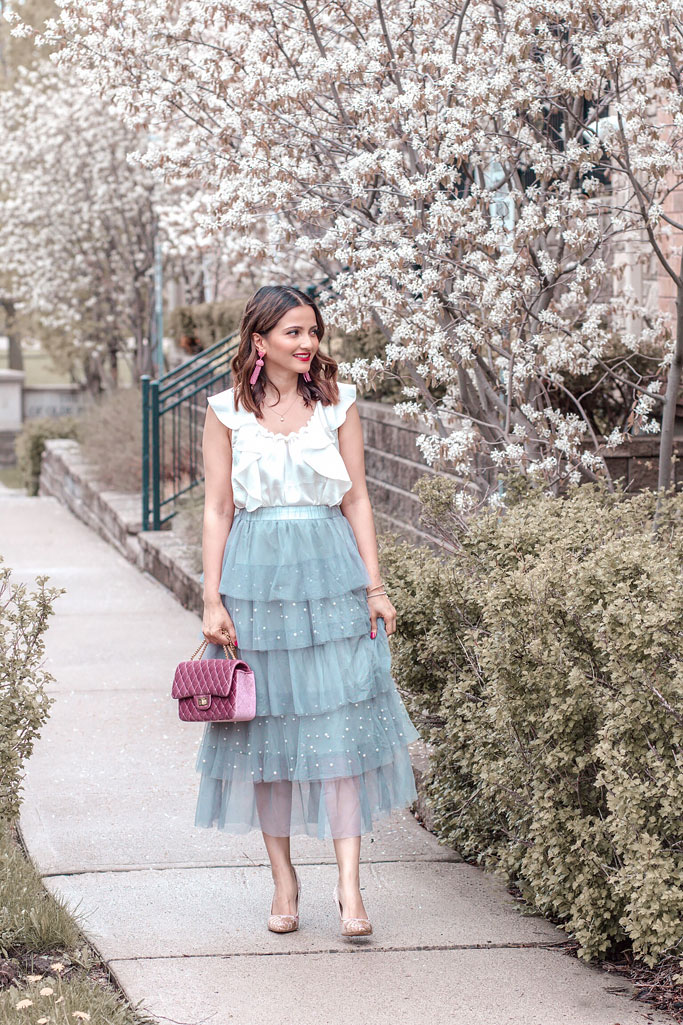 Chicwish Pearl Grey Tulle Skirt Pink Velvet Quilted bag blogger outfit