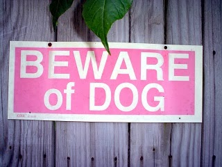 A beware of dog warning sign.