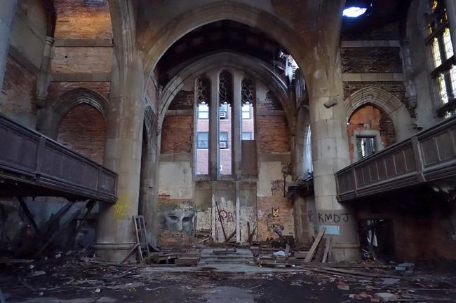 City Methodist Church Abandoned Gothic Ruins in Gary Indiana